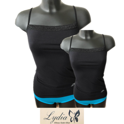 Lydia 2-pack Spaghetti hemdje met kant zwart t/m 3XL