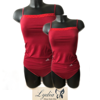 Lydia 2-pack Spaghetti hemdje met kant donker rood