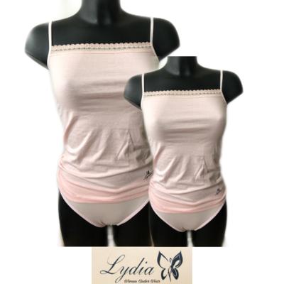 Lydia 2-pack Spaghetti hemdje met kant roze