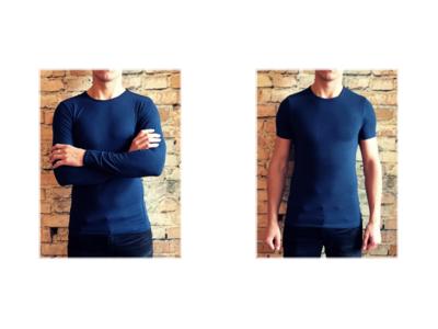 DICE heren T-shirt Lange + Korte mouw ronde hals Combi blauw