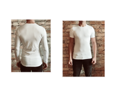DICE heren T-shirt Lange + korte mouw ronde hals Combi wit