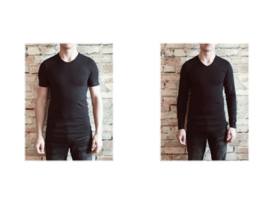 DICE heren T-shirt Lange + Korte mouw V-hals Combi zwart