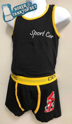 DICE Ondergoed set Hemd & Boxer set Sport Car zwart/geel 8-9 jaar
