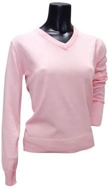 Dames V-hals trui zacht roze