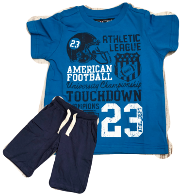 Jongens Zomerset / Pyjama Touchdown coboltblauw/blauw