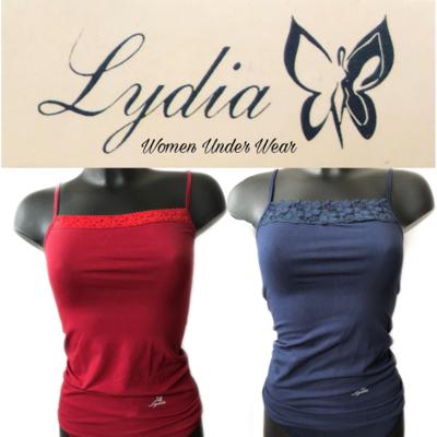 Lydia 2-pack Spaghetti hemdjes met kant donker blauw en rood
