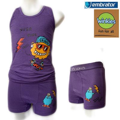 Embrator Jongens ondergoed set hemd&boxer Eat Me paars 4-5 jaar