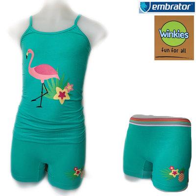 Embrator Meisjes ondergoed setje spaghetti+boxer Flamingo zeegroen 6-7 jaar