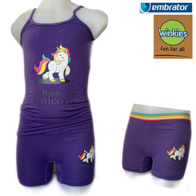Embrator Meisjes ondergoed setje spaghetti+boxer Happy Unicorn paars