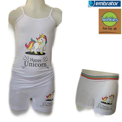 Embrator Meisjes ondergoed setje spaghetti+boxer Happy Unicorn wit