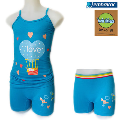 Embrator Meisjes ondergoed setje spaghetti+boxer Love blauw