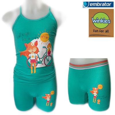 Embrator Meisjes ondergoed setje spaghetti+boxer For a Ride zeegroen