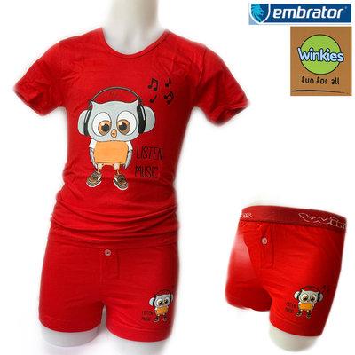 Embrator jongens ondergoed set t-shirt+boxer Music rood