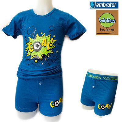 Embrator jongens ondergoed set t-shirt+boxer Goal blauw