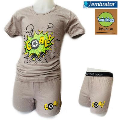 Embrator jongens ondergoed set t-shirt+boxer Goal grijs 10-11 jaar