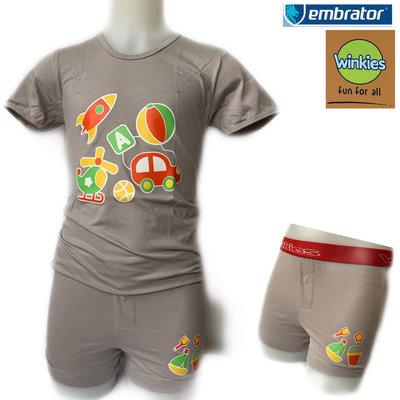 Embrator jongens ondergoed set t-shirt+boxer Vakantie grijs