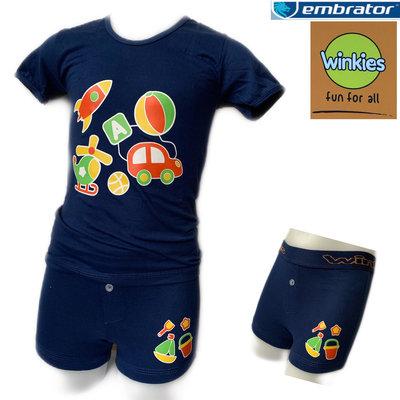 Embrator jongens ondergoed set t-shirt+boxer Vakantie blauw 4-5 jaar