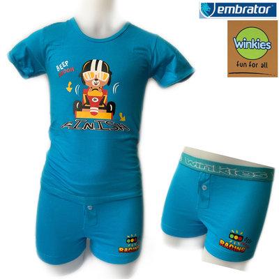 Embrator jongens ondergoed set t-shirt+Boxer Finish blauw