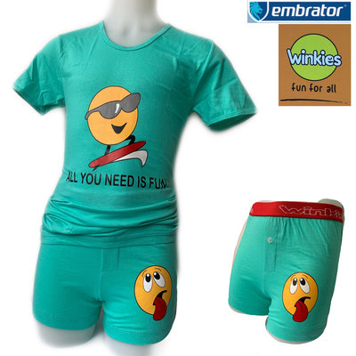 Embrator jongens ondergoed set t-shirt+boxer Fun mint groen