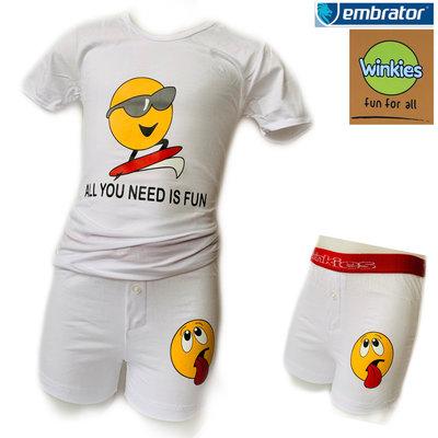 Embrator Jongens ondergoed set t-shirt+boxer Fun wit