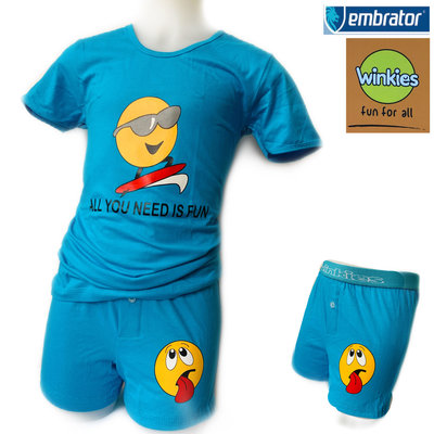 Embrator Jongens ondergoed set t-shirt+boxer Fun blauw 10-11