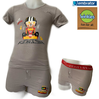 Embrator Jongens ondergoed set t-shirt+boxer Finish grijs 4-5