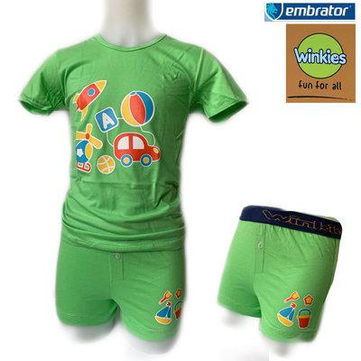 Embrator Jongens ondergoed set t-shirt+boxer Vakantie groen