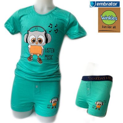 Embrator Jongens ondergoed set t-shirt+boxer Music zeegroen