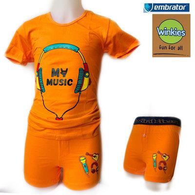 Embrator Jongens ondergoed set t-shirt+boxer My Music oranje