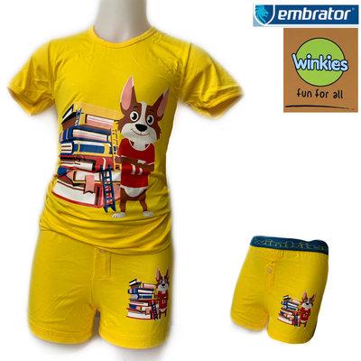 Embrator Jongens ondergoed set t-shirt+boxer Books geel