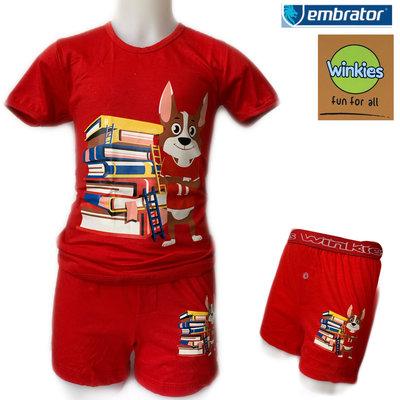 Embrator Jongens ondergoed set t-shirt+boxer Books rood